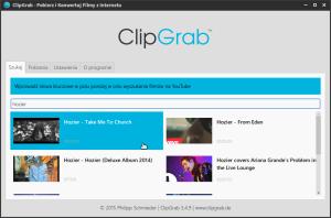 """Okno programu ClipGrab - karta """"Szukaj""""."""