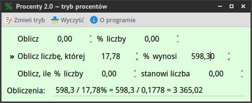 Procenty 2.0 - zrzut ekranu